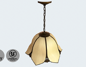 Vintage ceiling hanging lamp 3D model game-ready
