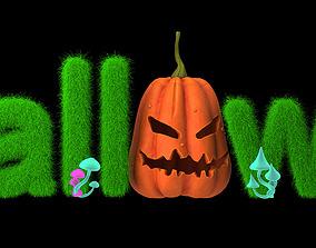 halloween pumpkin text 3D
