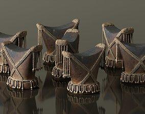 3D asset Headrest Africa Wood Furniture Prop 4