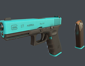 Blue Glock 17 with magazine 3D asset VR / AR ready