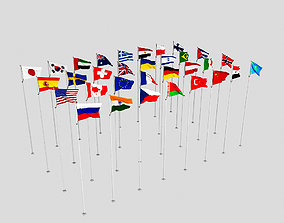 Flags of the world 3D model paper