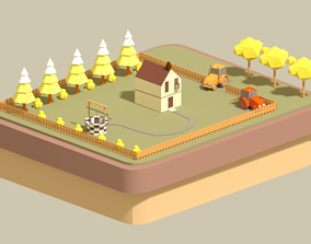 Low poly country house 3D model VR / AR ready