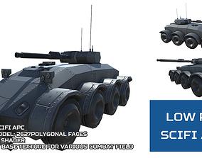 Low Poly Scifi APC 2 3D asset game-ready