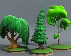 3D asset Cartoon Stylised Trees