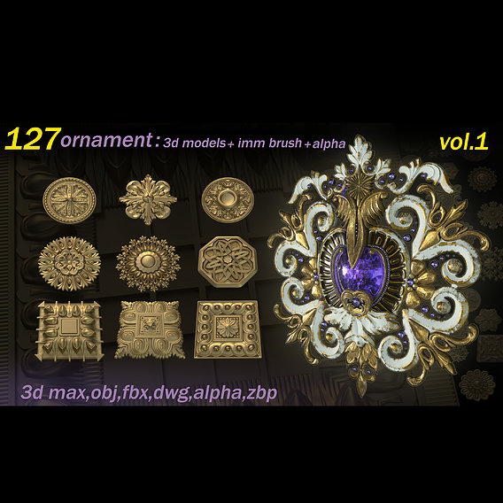 127 Ornament 3D Models and IMMBrushes and Alphas VOL 01