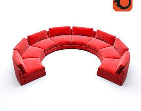 3D model Red Circular party sofa