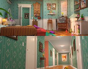 3D model Cartoon Corridor Bedroom V2