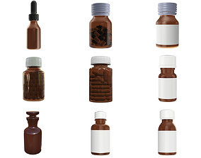Medicine glass bottles for mockup p1 3D model