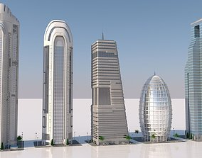 3D model futuristic skyscrapers