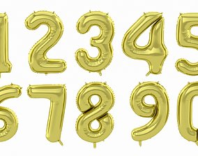 Balloon Numbers Gold Color 3D