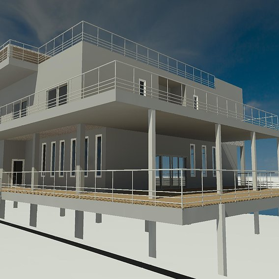 Office with draft render  by REVIT