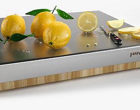 Lemons on chopping board 3D