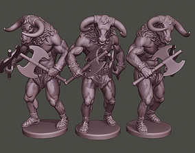 Minotaur Warrior Agressive two Axes 3D printable model