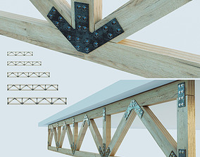 3D asset Set of wooden trusses with parallel belts