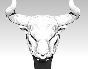 Bull head with horn 3D printable model
