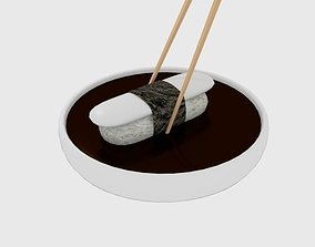 Chopstick Dip Sushi Plate 3D