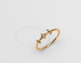 3D printable model Thin baroque pattern ring with stone