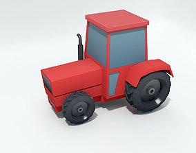 Cartoon lowpoly tractor 3D asset
