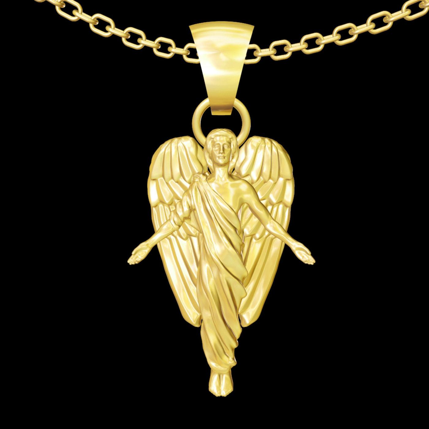 Angel Man pendant jewelry gold necklace medallion 3D print model