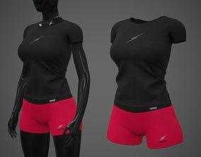 3D asset Female Sportswear gym clothing PBR 2