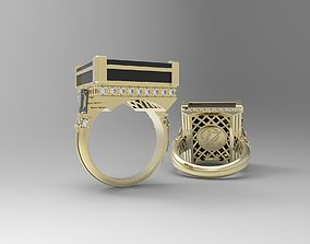 3D print model Art deco ring with square inlay