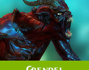 3D model animated Grendel fantasy monster