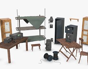 Bundle German Bunker Furnitures WWII 3D PBR