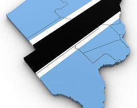 3d Political Map of Botswana