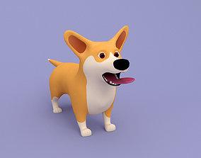 Cartoon dog Corgi 3D model rigged animals
