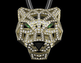 3D printable model pendant panther gold