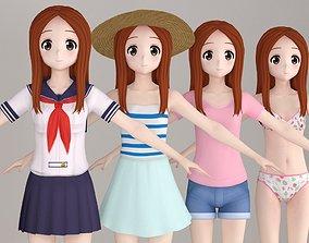 T pose nonrigged model of Takagi-san anime girl 3D