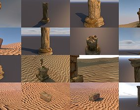 3D model Broken ancient column statue and block