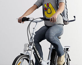 boy ride bicycle male 3D