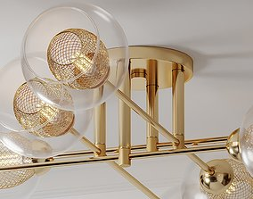 3D model Mid Century Light Radial Glass Gold Ceiling 1