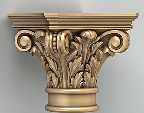 3D model wood Column Capital 008