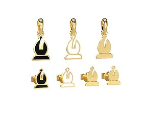 Bishop pendant and earrings chess set 3D printable model