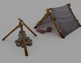 low poly tent 3D model