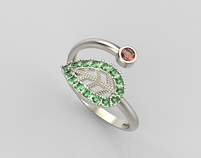 printable 3D print model Ring with gems
