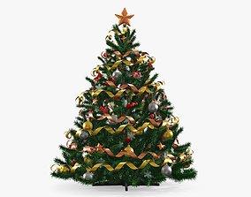 3D Fir tree artificial decorated 02