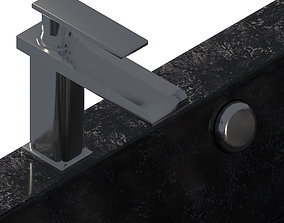 Black ceramic sink and silver crane 3D