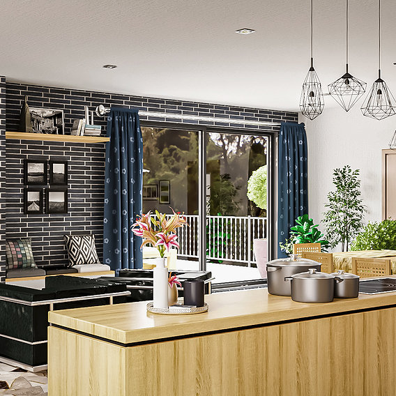 Modern kitchen and living room interior and exterior