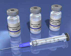 3D model Vaccine Syringe and Vial with Editable Text