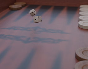 3D model game-ready Backgammon