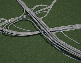 asphalt Highway Road Junction 3D model