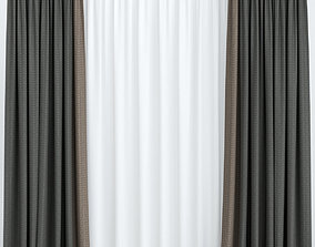 Dark curtains with tulle 3D model black