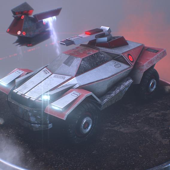 tesla war version car game  model (PBR)