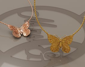 necklace 3D printable model Butterfly pendant