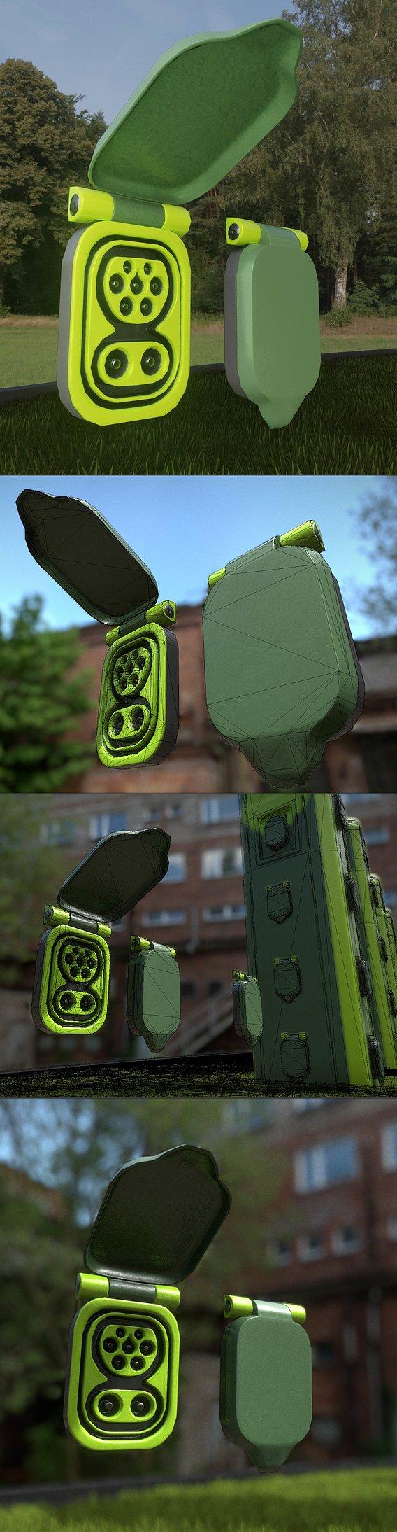 Electric Vehicle Charging Socket 2 (Blender-2.92 Eevee)