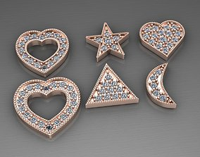 heart diamond pendants 3D print model