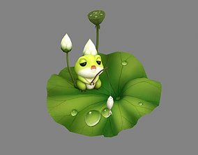 Cartoon Frog fishing on lotus leaf 3D asset